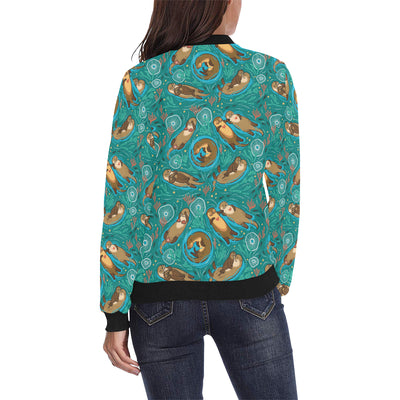 Sea Otter Pattern Print Design 01 Women Bomber Jacket