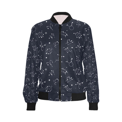 Constellation Pattern Print Design 05 Women Bomber Jacket