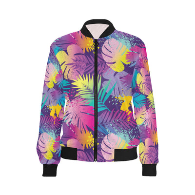 Palm Leaf Pattern Print Design A04 Women Bomber Jacket