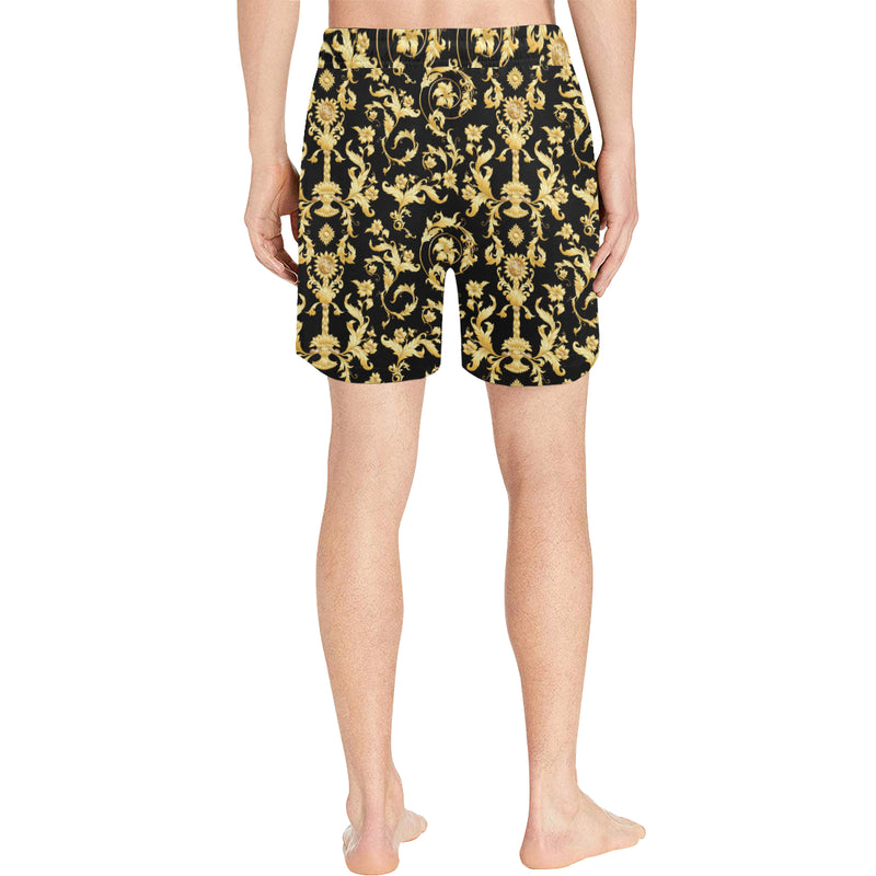 Baroque Golden Pattern Print Design 04 Men Shorts