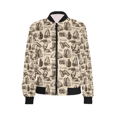 Camping Pattern Print Design 01 Women Bomber Jacket