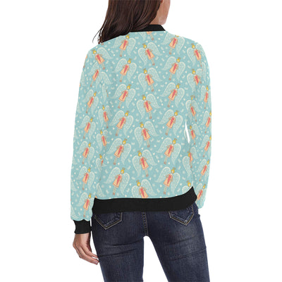 Angel Pattern Print Design 01 Women Bomber Jacket