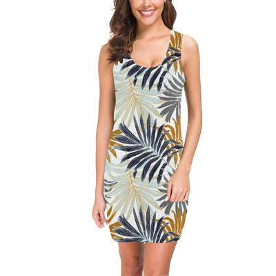 Colorful Tropical Palm Leaves Mini Dress