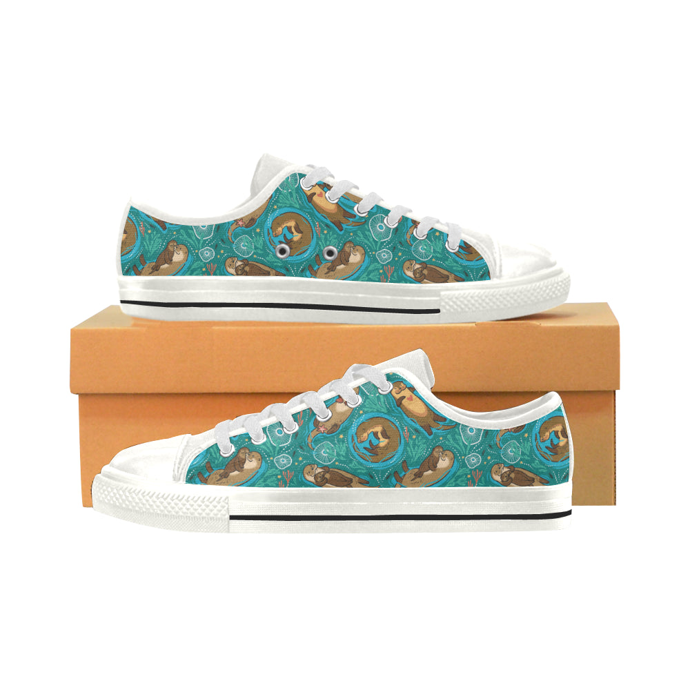 Sea Otter Pattern Print Design 01 Low Top Shoes
