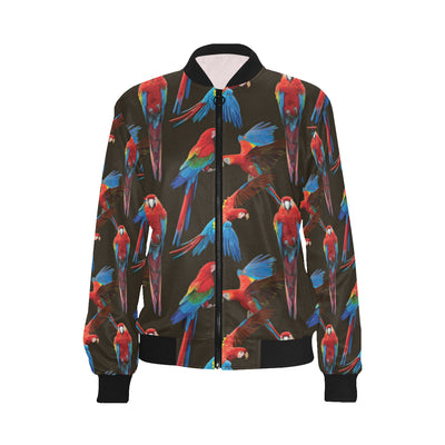 Macaw Pattern Print Design 04 Women Bomber Jacket