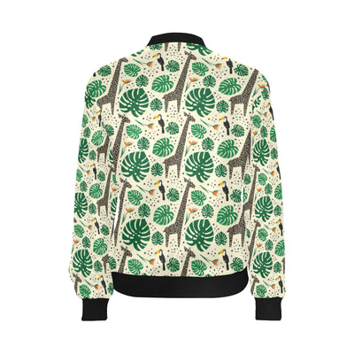 Rainforest Giraffe Pattern Print Design A02 Women Bomber Jacket