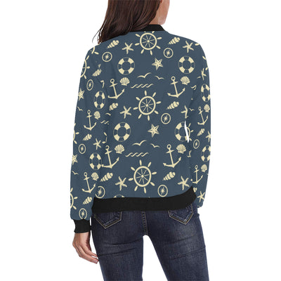 Nautical Pattern Print Design A01 Women Bomber Jacket