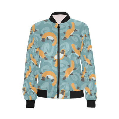 Platypus Pattern Print Design A01 Women Bomber Jacket