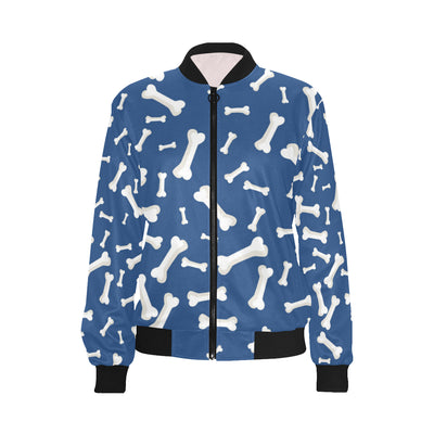 Dog Bone Pattern Print Design 03 Women Bomber Jacket