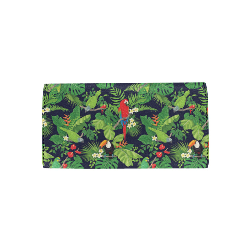 Rainforest Parrot Pattern Print Design A03 Women Trifold Wallet