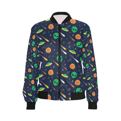 Alien UFO Pattern Print Design 05 Women Bomber Jacket