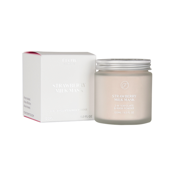 FLOW COSMETICS Strawberry Milk Facial Mask Powder with Hyaluronic Acid