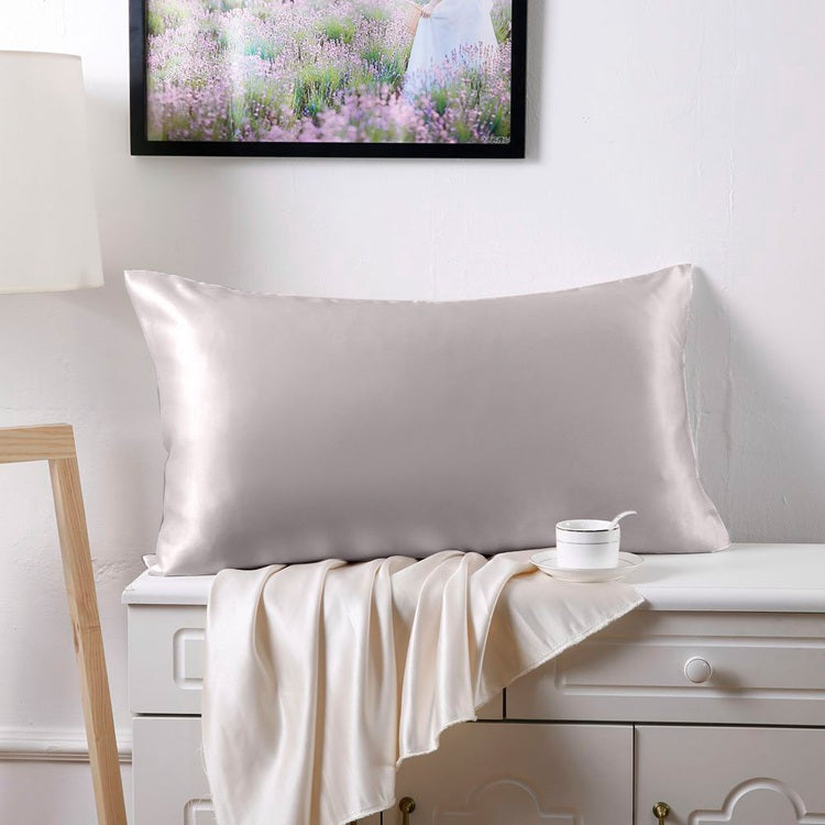 100% Mulberry Silk Pillowcase - Silver