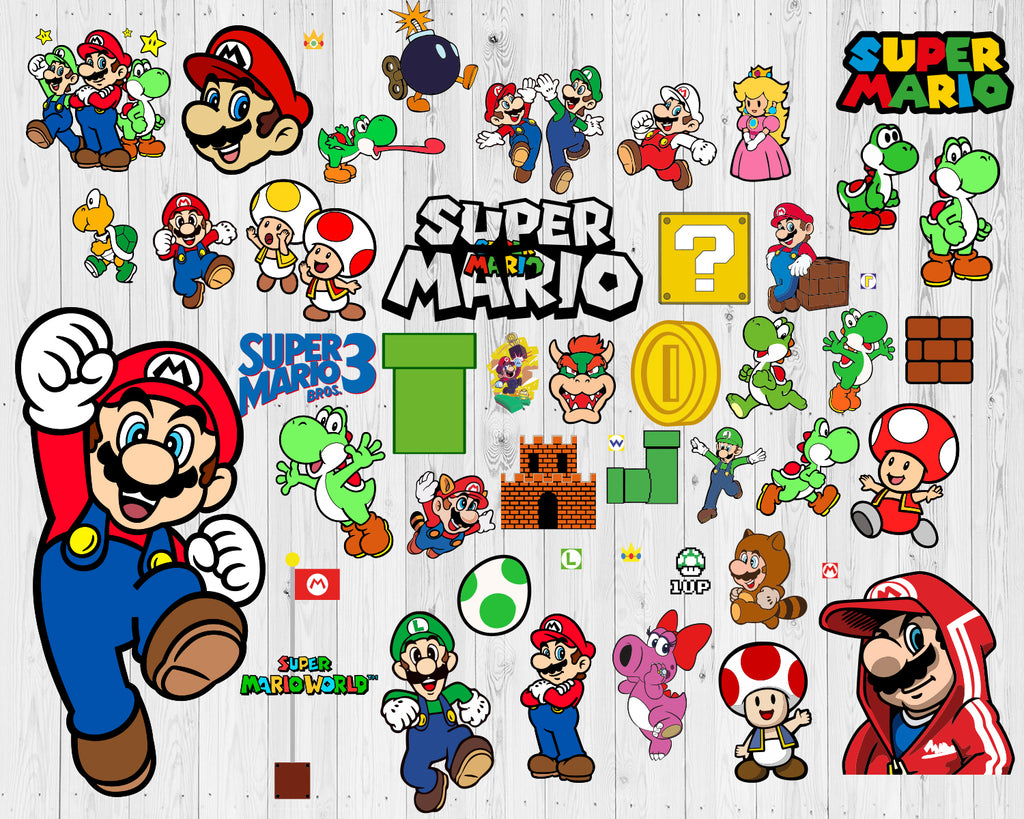 Super Mario Svg Mario Bros Svg Super Mario Svg Bundle Dxf Eps Png Svg Designs For Cutting And Printing