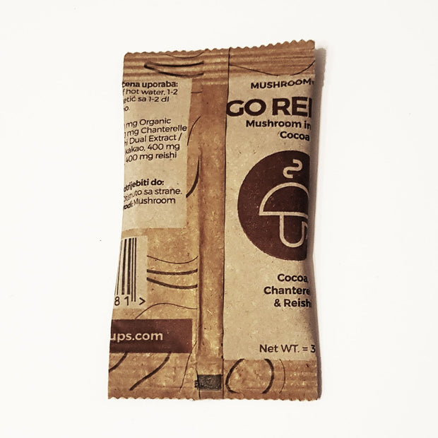 Go Relax – organic instant Cocoa with Chanterelle & Reishi - NEW packaging 15 Servings