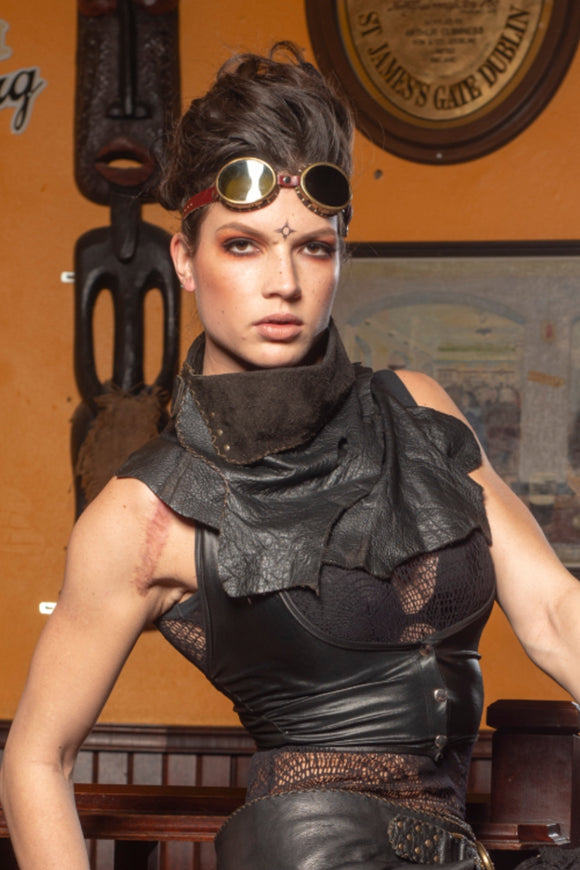 Steampunk Leather Shawl Neck Crawl Shaal