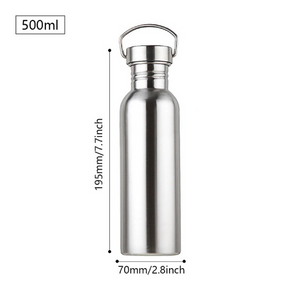 stainless steel water bottle with measurements