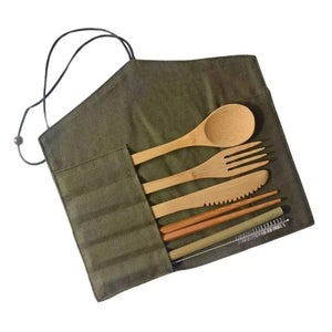 bamboo cutlery set with green canvas pouch