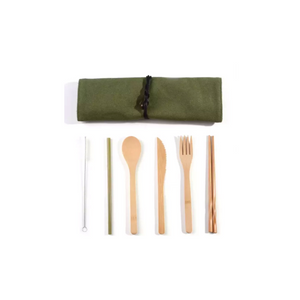 eco friendly bamboo cutlery set with travel bag