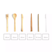 Laden Sie das Bild in den Galerie-Viewer, bamboo cutlery set with measurements