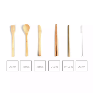 bamboo cutlery set with measurements