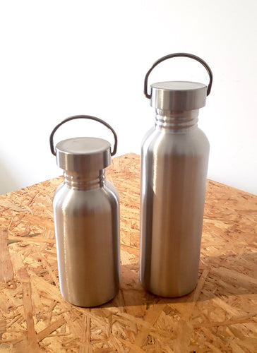 stainless steel water bottles in two sizes