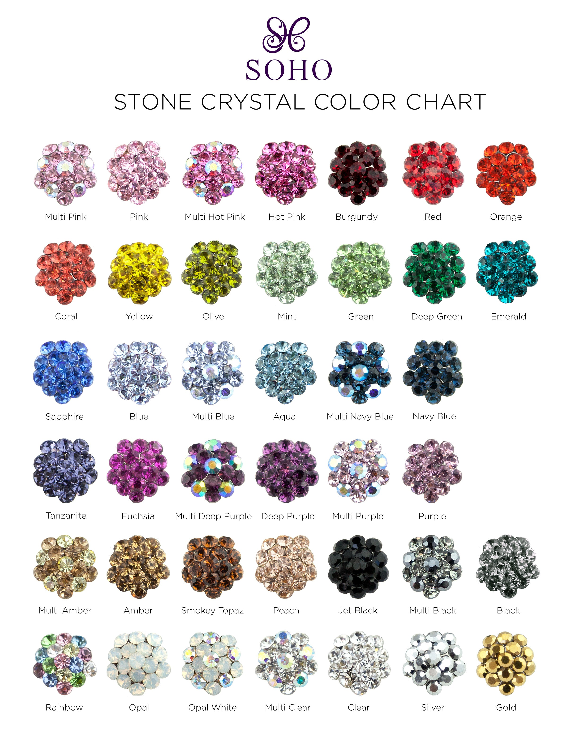 Soho Style- Stone Crystal Color Chart