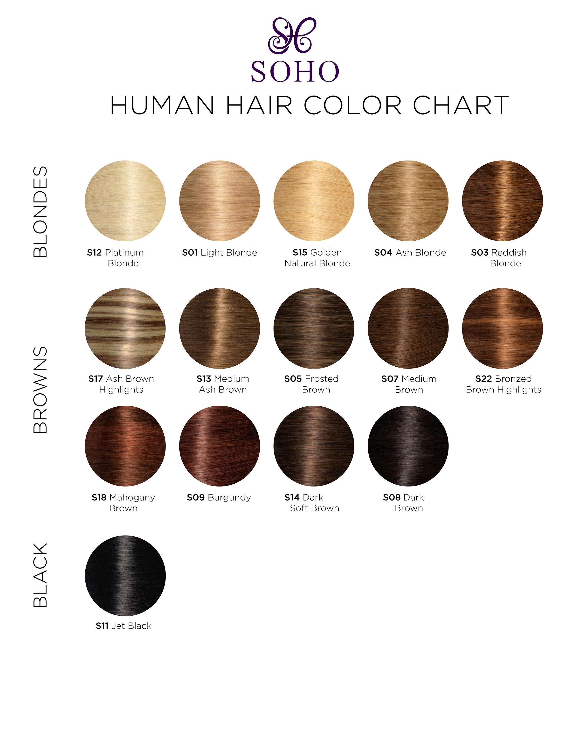 Soho Style- Human Hair Extensions Color Chart