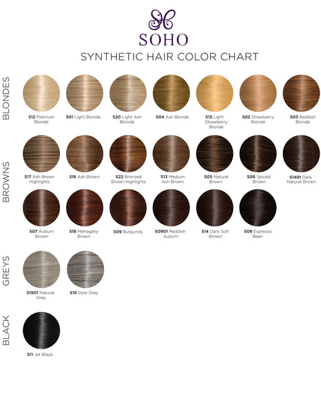 Soho Style- Synthetic Hair Extensions Color Chart