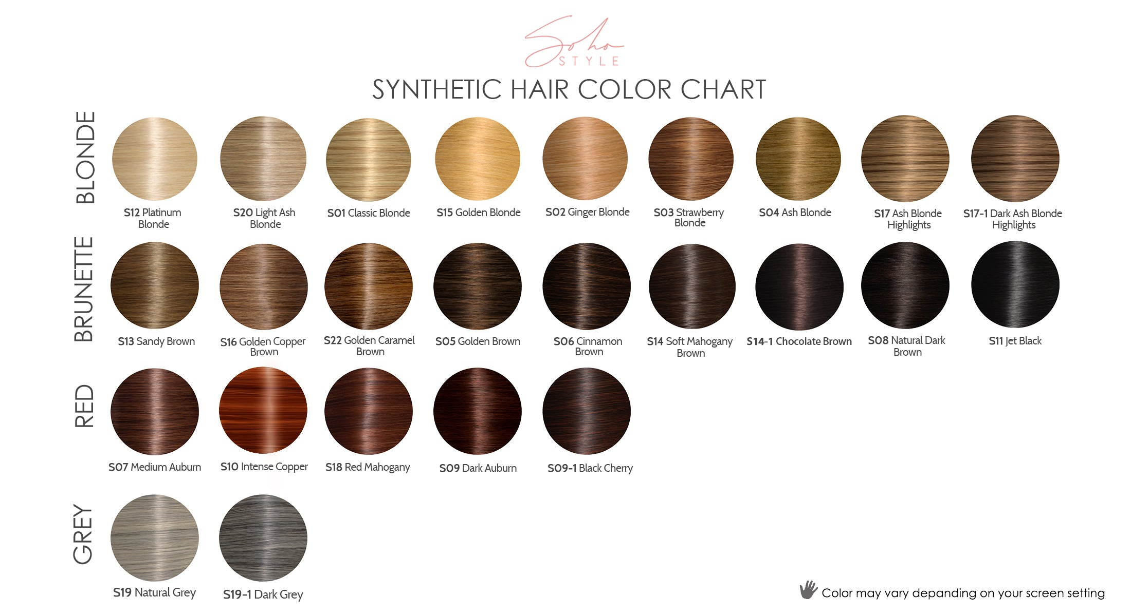 Soho Style Synthetic Color Chart