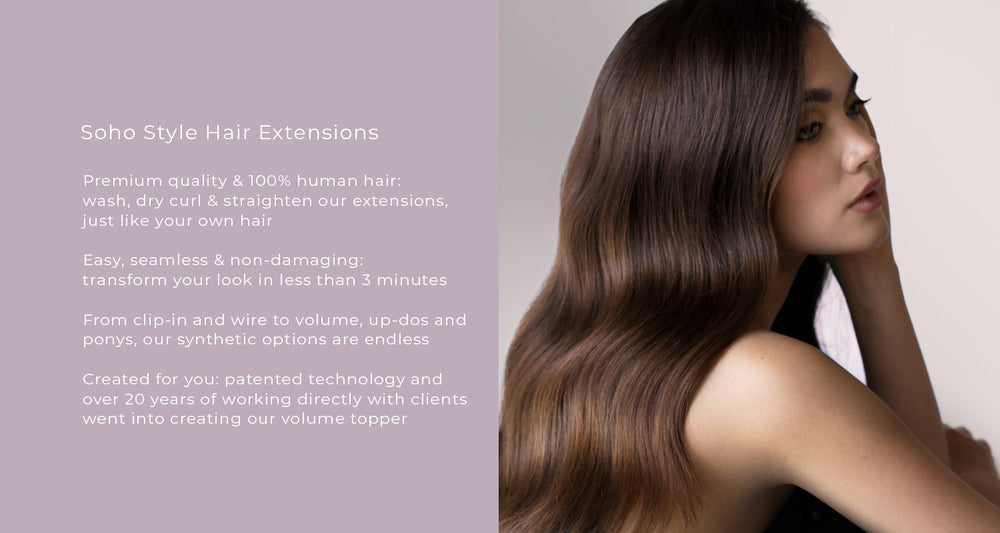 Premium quality & 100% human hair:  wash, dry curl & straighten our extensions,  just like your own hair  Easy, seamless & non-damaging:  transform your look in less than 3 minutes  From clip-in and wire to volume, up-dos and ponys, our synthetic options
