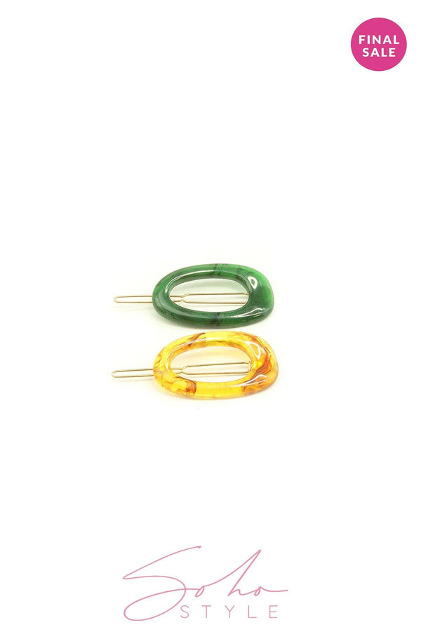 2PCS green and yellow barrettes set Hair acc Sale