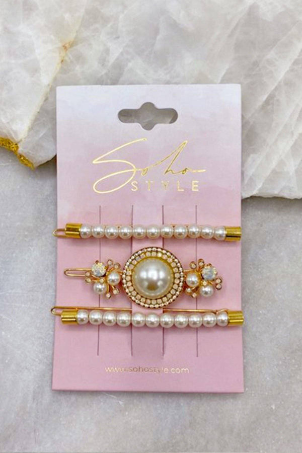 Pearls Bobby Pin and Luxe Pearl Statement Barrette 3 PCS Set Barrette 2019