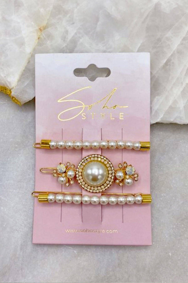 Pearls Bobby Pin and Luxe Pearl Statement Barrette 3 PCS Set