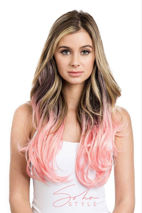 Pink/Red Tone Ombre Halo Extensions Hair Extension Sale