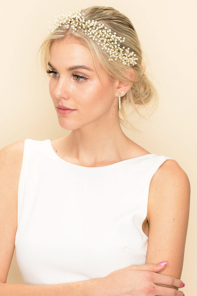 GOLDEN BABY'S BREATH FLORAL HAIR CROWN Wedding Sale