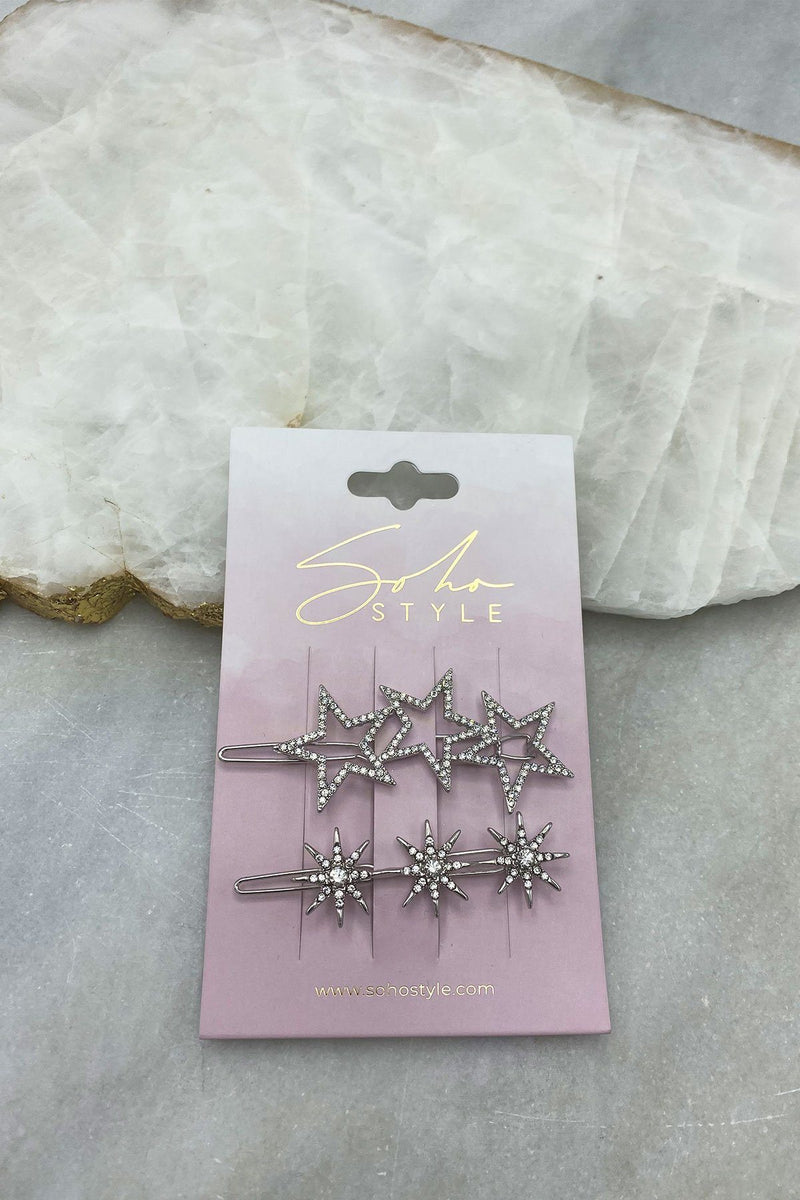 Starlight and COSMIC RAYS CRYSTAL BARRETTE Set
