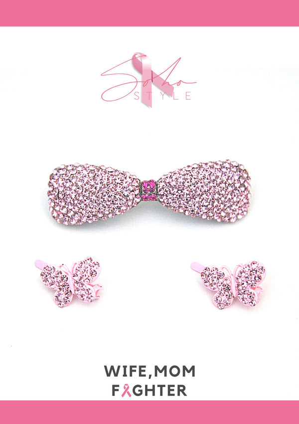 Pink Butterfly and bow set breast cancer Soho Style