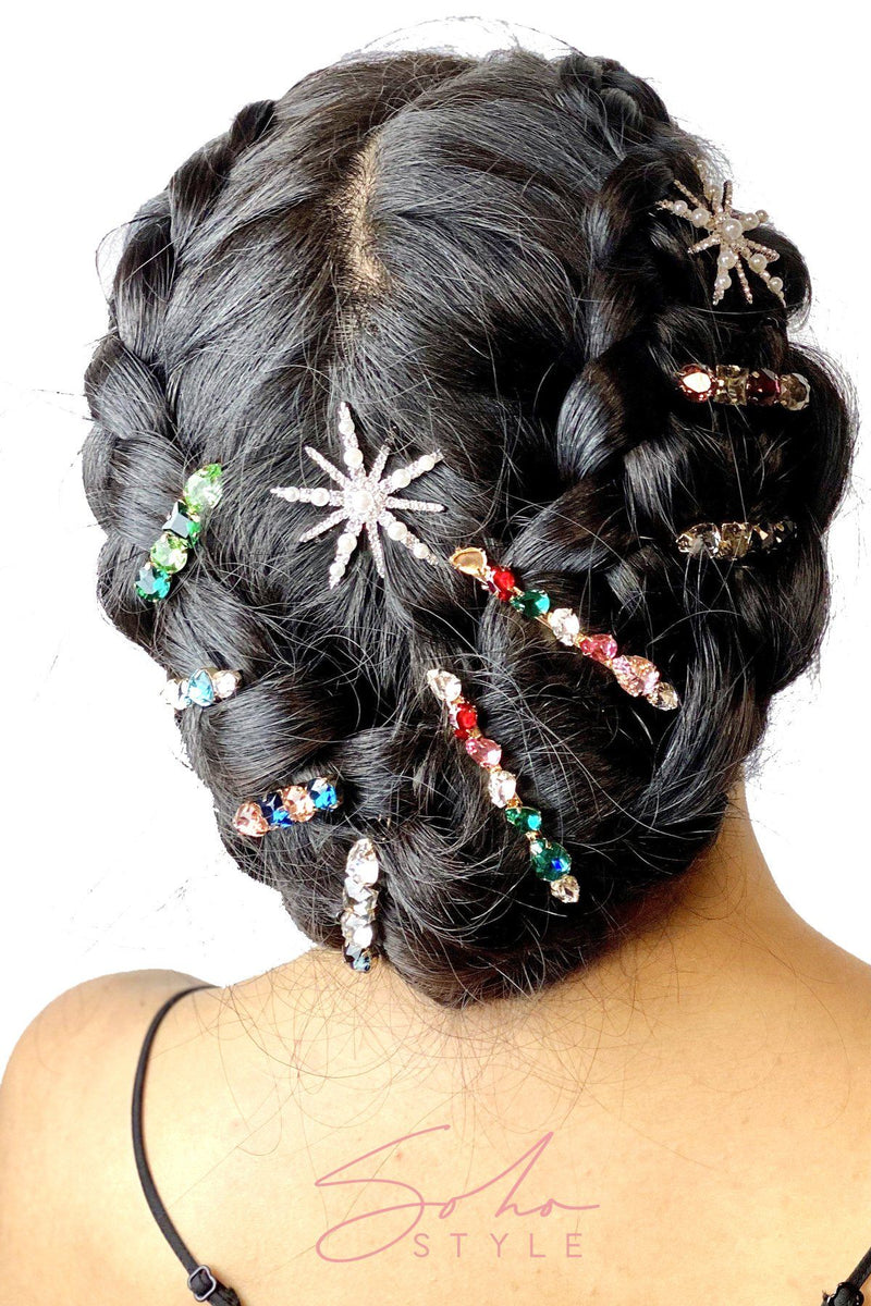 Multi-Colored 4-Stone Hair Bejeweled Barrettes 3 PCS Set Barrette Sale