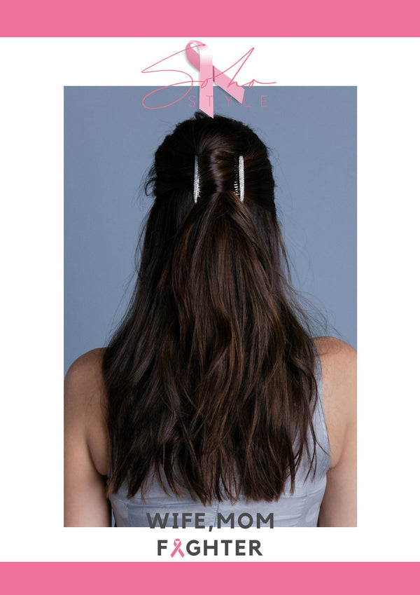 PINK Ribbon and Hair Comb Set breast cancer Soho Style