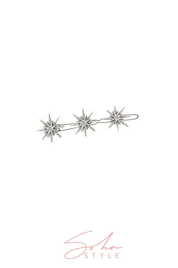 Gilded Star and Cosmic Rays Crystal Barrette 2PCS Set Barrette Sale
