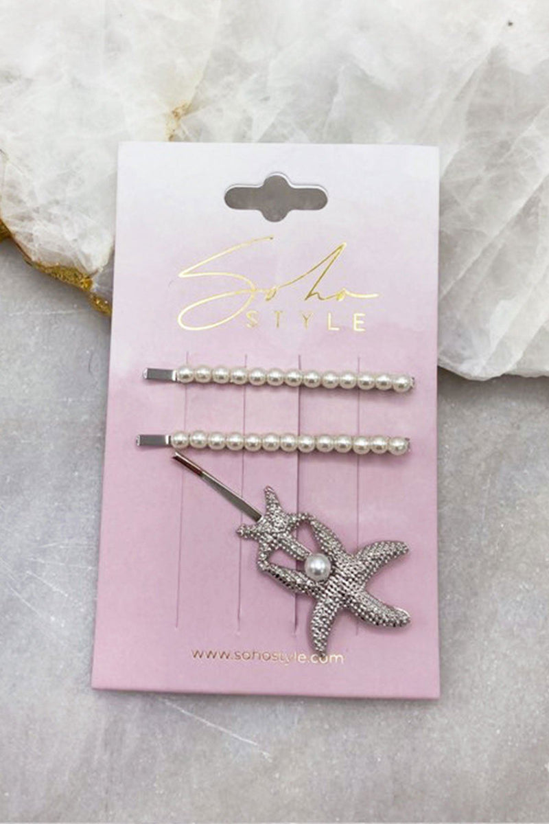 Pearl Pop Mini and Twin Starfish Bobby Pin Set Bobby Pins 2019