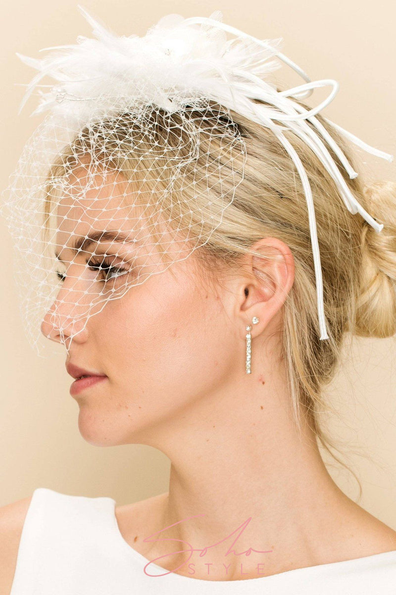 EXTRAVAGANT VEIL WITH SWAROVSKI CRYSTAL, LACE AND FEATHERS Wedding Sale