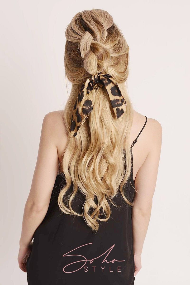 New Hollywood Glam Leopard Bow Scrunchie Ponytail Holder 2020