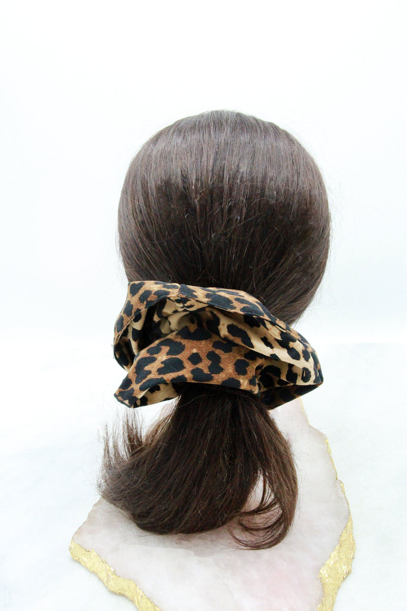 Leopard Print Hair Scrunchie Ponytail Holder Soho Style
