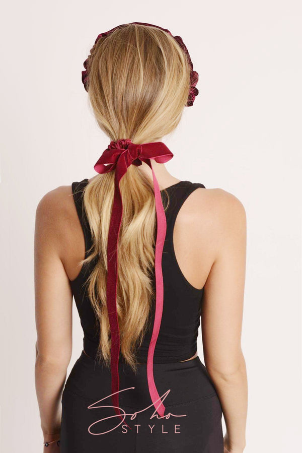 Velvet Ribbon Bow Scrunchie Ponytail Holder 2020