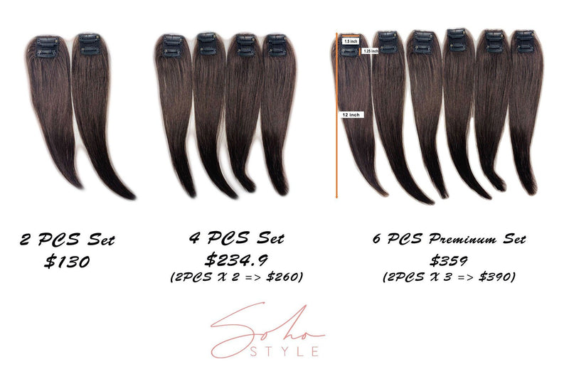 "Ali 12"" Clip-In Remy Human Hair Light Volume Extension Set Hair Extension Soho Style"