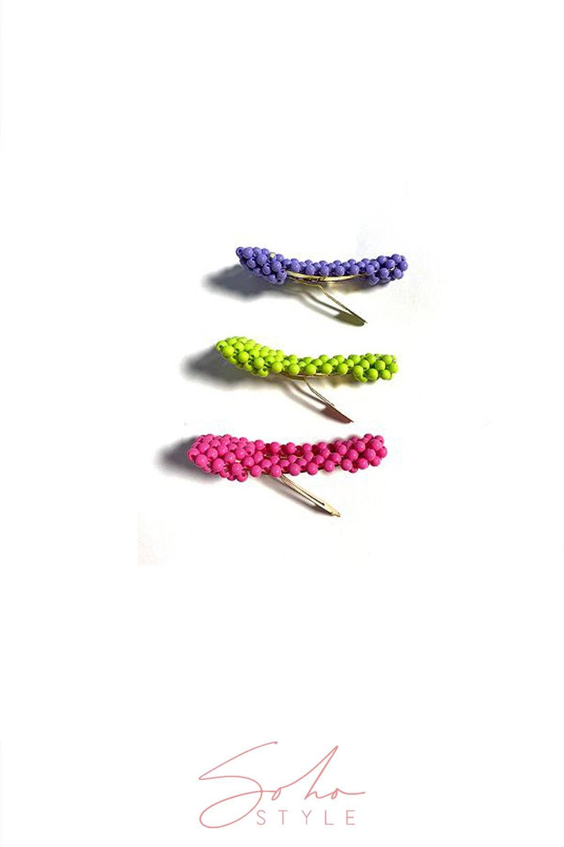 Neon Beaded Hair Clips Duo Hair Clip 2019