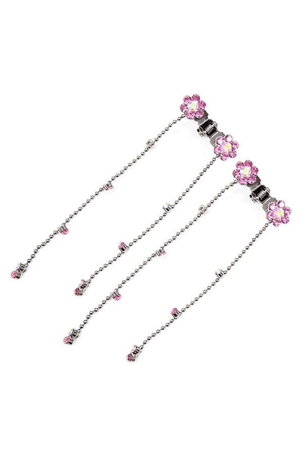 Mini Flower Hair Jaw with Dangles (Pair)