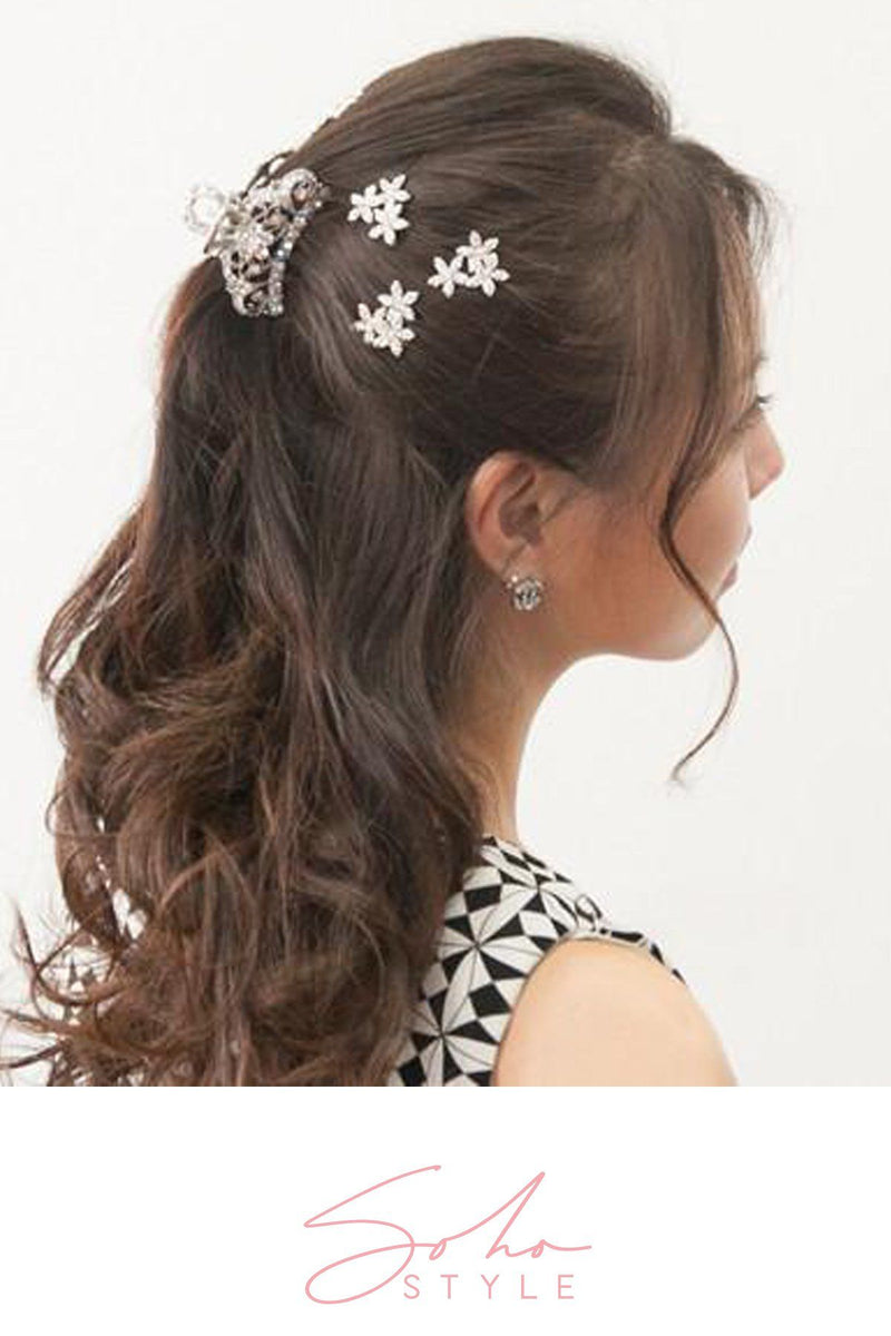 Simple Medium-sized Hair Jaw with Crystal Flowers Hair Jaws Soho Style